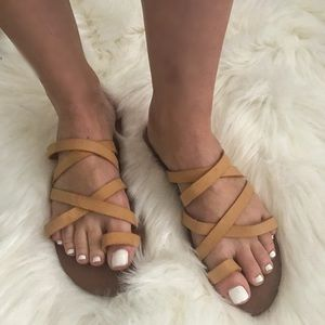 Shoes - Strappy Vegan Leather Sandals